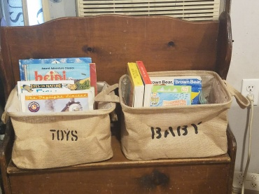 Toy bench, books, toys and board books